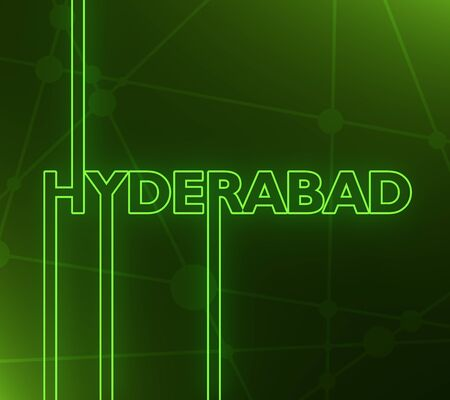 Image relative to India travel theme. Hyderabad city name in geometry style design. Creative vintage typography poster concept. 3D rendering. Neon bulb illumination Stockfoto