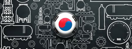 Energy and Power icons set. Design concept of natural gas industry. Circle with industrial line icons. Flag of the South Korea. 3D rendering