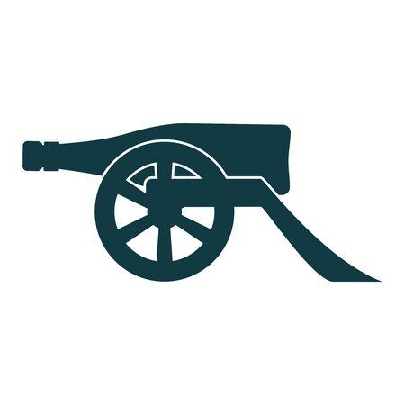 Ancient wine bottle cannon silhouette. Vector illustration. Иллюстрация