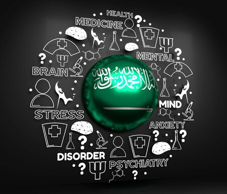 Mental health creative concept. Circle frame with medicine thin line icons and tags. Flag of the Saudi Arabia. 3D rendering.