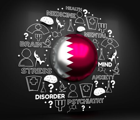 Mental health creative concept. Circle frame with medicine thin line icons and tags. Flag of the Qatar. 3D rendering. Reklamní fotografie