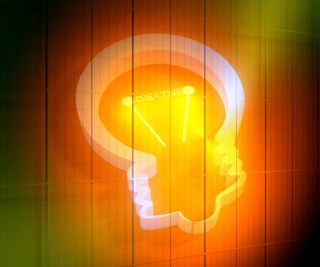 lamp 3d outline icon. Illustration of brainwork, idea appearance. Switch on bulb icon with creative text. 3D rendering