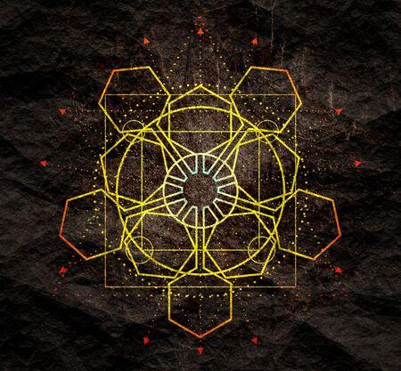 Mystical geometry symbol. Linear alchemy, occult, philosophical sign. For music album cover, poster, sacramental design. Astrology and religion concept. Foto de archivo - 129105251