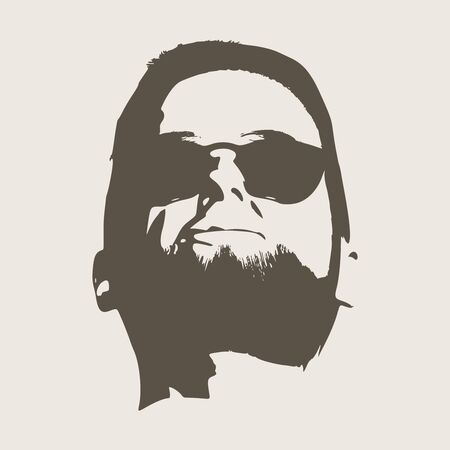 Front view of bearded man wearing sunglasses. Male face silhouette