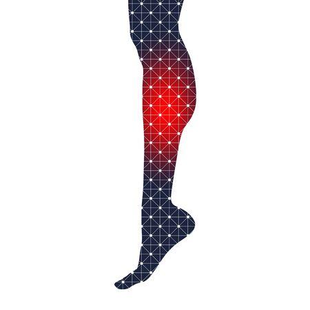 Slim elegant woman leg silhouette textured by lines and dots pattern. Legs design element. Spotlight marked ache Иллюстрация