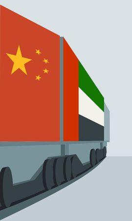 Train Freight transportation. Cargo transit from China to United Arab Emirates.