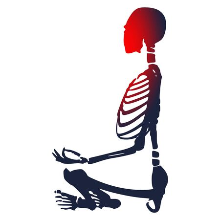 Human skeleton in yoga meditation pose.