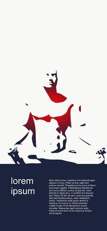 Muscular man sit in meditation pose.