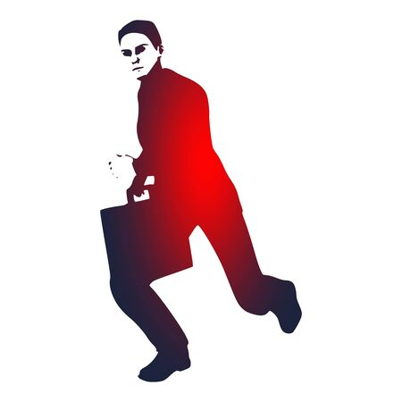 Businessman running with briefcase.