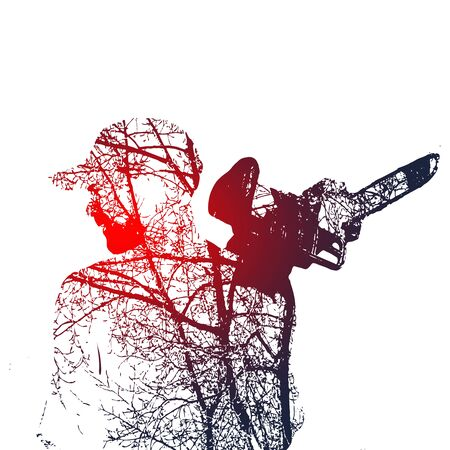 Double exposure of bearded brutal man with chainsaw. Illustration