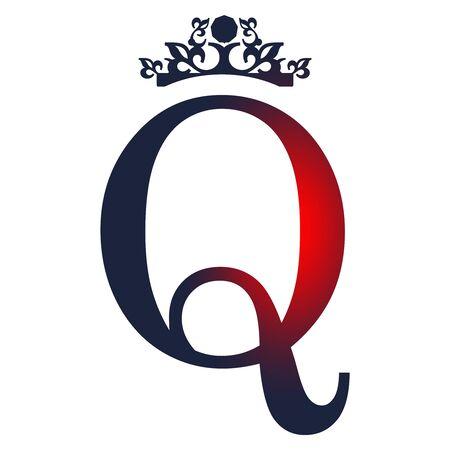 Vintage royal emblem with Q letter silhouette. Stock Illustratie