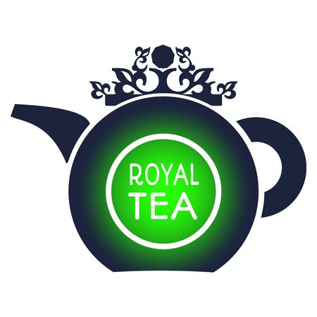 Tea logo template and design element for tea shop, restaurant. Teapot vector illustration. Royal tea text Фото со стока - 129314863