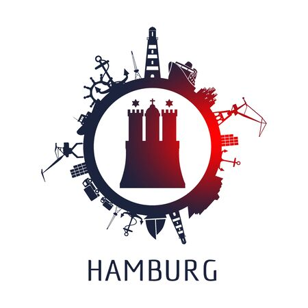 Template with sea shipping and travel relative silhouettes. Hamburg city name text and element from coat of arms
