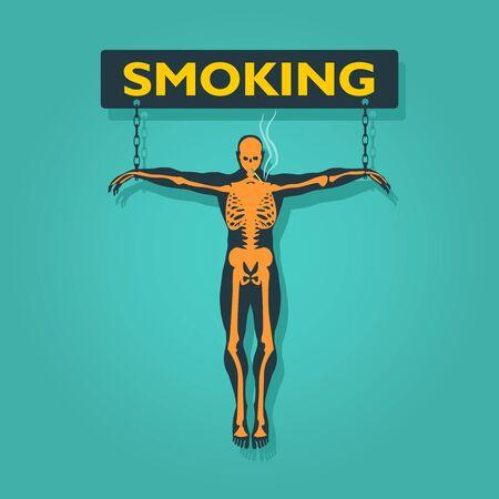 Man chained to smoking word. Unhealth addiction metaphor. Ilustração