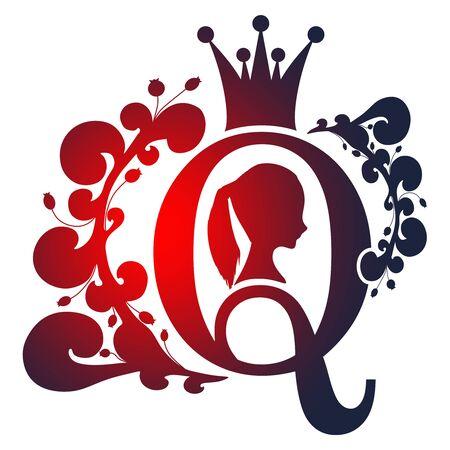Silhouette de reine vintage. Profil de la reine médiévale. Silhouette élégante d'une tête de femme. Coiffure en queue de cheval. Emblème royal avec lettre Q décoré de motifs floraux