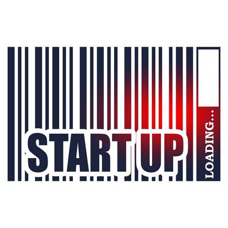 Start up text in bar code. Loading bar. Relative for retail business Иллюстрация