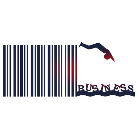 Man silhouette diving from bar code springboard into ocean of business. Start up relative image Stock Illustratie