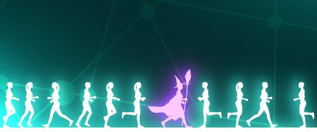 Running women. Side view silhouettes. Witch silhouette with a broomstick. Human differences. Neon bulb illumination. 3D rendering