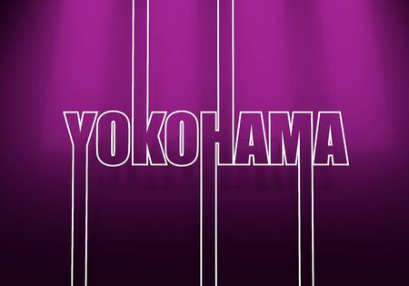 Image relative to Japan travel theme. Yokohama city name in geometry style design. Creative vintage typography poster concept. Outline letters. 3D rendering