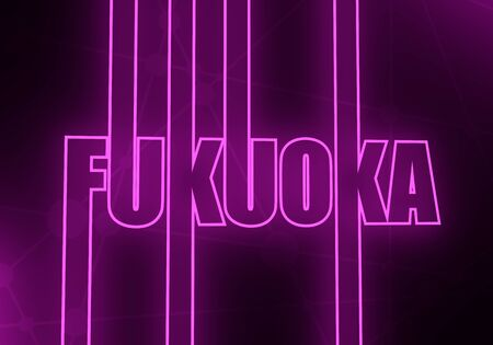 Image relative to Japan travel theme. Fukuoka city name in geometry style design. Creative vintage typography poster concept. Outline letters. 3D rendering. Neon bulb illumination