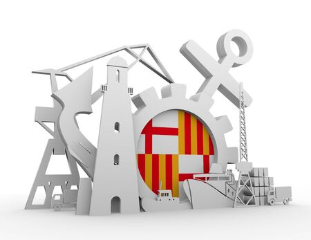 Cargo port relative icons set. Flag of the Barcelona. 3D rendering