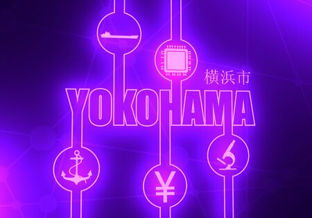Image relative to Japan travel theme. Yokohama city name in geometry style design. Creative industrial and business typography poster concept. Yokohama word by japanese language. 3D rendering