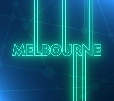 Image relative to Australia travel theme. Melbourne city name in geometry style design. Creative vintage typography poster concept. 3D rendering. Neon bulb illumination
