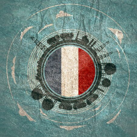 Circle with energy relative silhouettes. Objects located around circle. Flag of the France in the center of circle. Modern brochure, report or leaflet design template. Фото со стока
