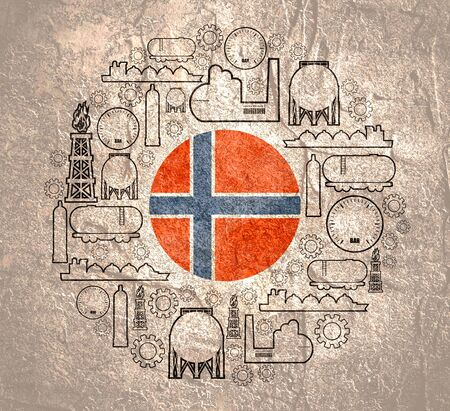 Energy and Power icons set. Design concept of natural gas industry. Circle with industrial line icons. Flag of the Norway
