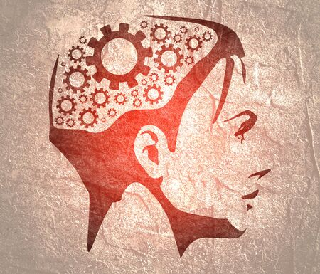 Silhouette of a woman head. Mental health relative brochure design template. Gears icons in head as symbol of brainstorm or thinking
