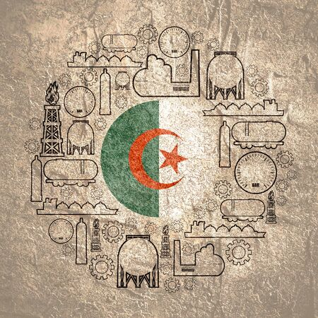 Energy and Power icons set. Design concept of natural gas industry. Circle with industrial line icons. Flag of the Algeria Фото со стока