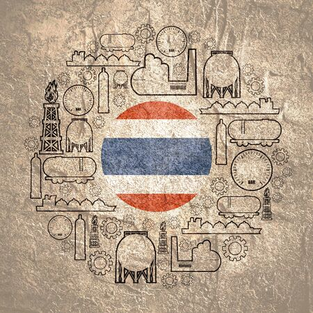 Energy and Power icons set. Design concept of natural gas industry. Circle with industrial line icons. Flag of the Thailand Фото со стока
