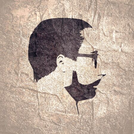 Profile view of bearded man wearing spectacles. Male face silhouette