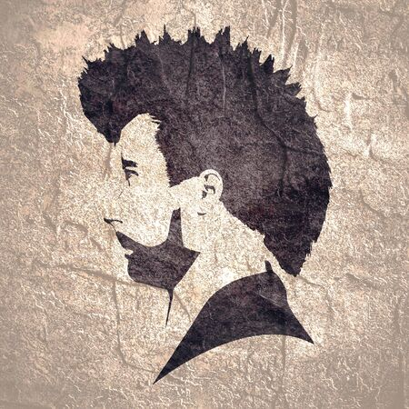 Profile view of bearded man. Male face silhouette or icon. Mohawk hair style.