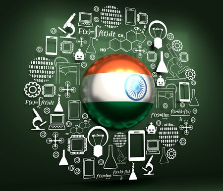 Innovation and technology concept. Template for presentation. Circle frame with thin line icons. Flag of the India. 3D rendering.