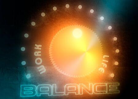 Balance adjust between work and life. Concept of regulator with neon shine scale. 3D rendering