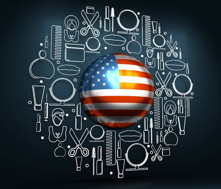 Cosmetology and fashion concept. Template for presentation. Circle frame with thin line icons. Flag of the USA. 3D rendering.