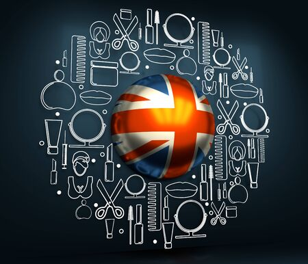 Cosmetology and fashion concept. Template for presentation. Circle frame with thin line icons. Flag of the United Kingdom. 3D rendering. Stock Photo