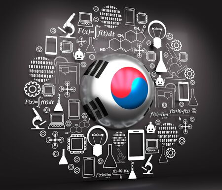 Innovation and technology concept. Template for presentation. Circle frame with thin line icons. Flag of the South Korea. 3D rendering. Stock Photo