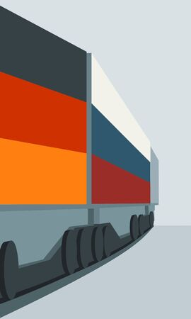 Train Freight transportation. Cargo transit from Germany to Russia. Container textured by flags Illustration