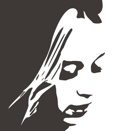 Face side view. Elegant silhouette of a female head. Archivio Fotografico - 130055247