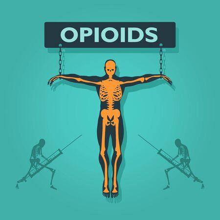 Man chained to opioids word. Unhealth addiction metaphor. Ilustração