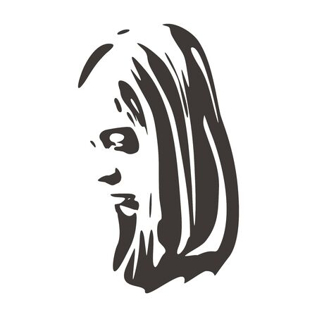 Face side view. Elegant silhouette of a female head.