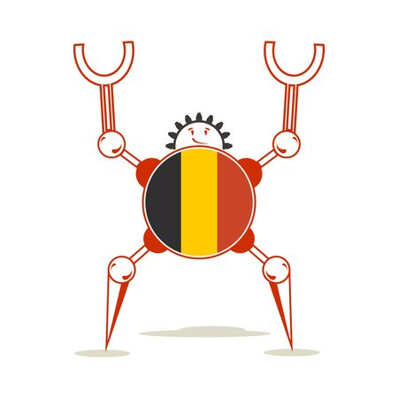 Cute vintage robot. Robotics industry relative image. Cartoon person. Flag of the Belgium Banco de Imagens - 130055261