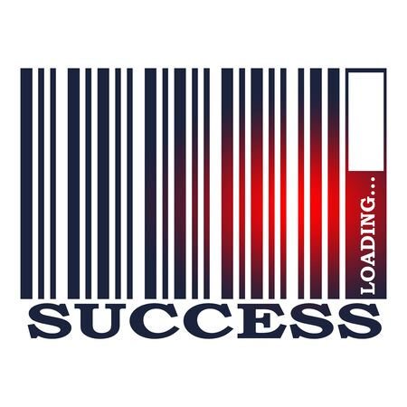 Success text in bar code. Loading bar. Relative for retail business