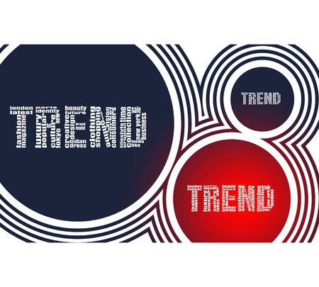 Trend words consist of relative words. Fashion keywords tag cloud. Geometry shapes background Иллюстрация