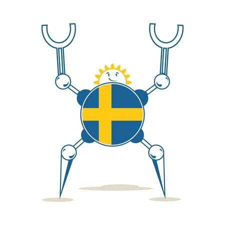 Cute vintage robot. Robotics industry relative image. Cartoon person. Flag of the Sweden