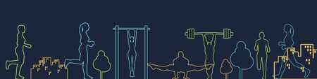 Sport and recreation concept. Outdoor fitness. Thin line style web banner  イラスト・ベクター素材