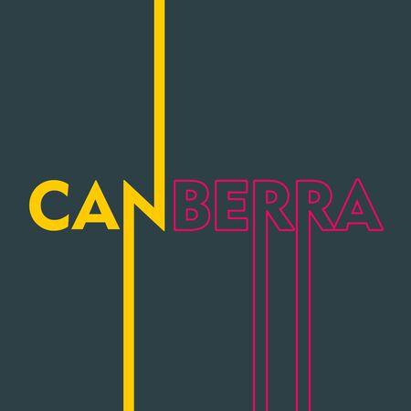 Image relative to Australia travel theme. Canberra city name in geometry style design. Creative vintage typography poster concept. Ilustração