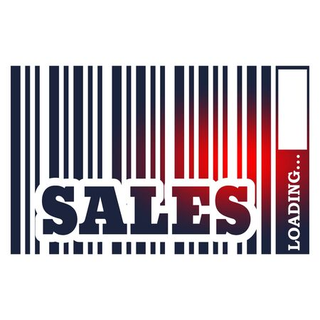 Sales text in bar code. Loading bar. Relative for retail business